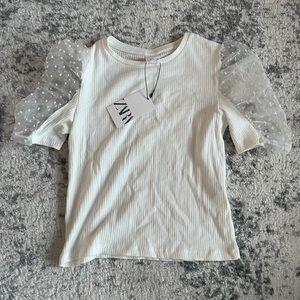 NWT Kids Ribbed Puff Sleeve Zara Top
